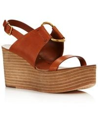 2ae416e4a1e6 Lyst - Tory Burch Platform Wedge Sandals - Rosalind in Brown