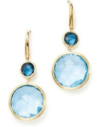 Marco Bicego - 18k Yellow Gold Jaipur Mixed Blue Topaz Drop Earrings - Lyst