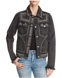 Aqua - Embellished Denim Jacket - Lyst