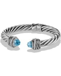 David Yurman - Crossover Bracelet With Blue Topaz & Diamonds - Lyst