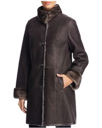 Maximilian - Mink Fur Collar Lamb Shearling Coat - Lyst
