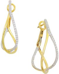Frederic Sage - 18k Yellow Gold Crossover Diamond Hoop Earrings - Lyst