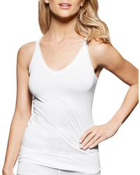 Fine Lines - Pure Cotton V-neck Tank - Lyst