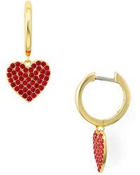 Kate Spade - Pavé Heart Drop Earrings - Lyst