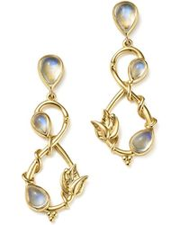 Temple St. Clair - 18k Yellow Gold Double Leaf Royal Blue Moonstone Earrings - Lyst
