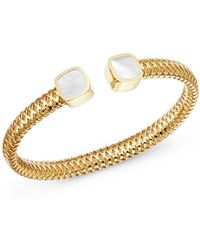 Roberto Coin - 18k Yellow Gold Primavera Mother-of-pearl Square Station Bypass Bangle - Lyst