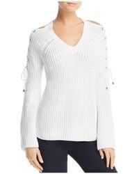 Aqua - Lace-up Cold-shoulder Sweater - Lyst
