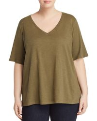 Eileen Fisher - Organic Cotton V-neck Tee - Lyst