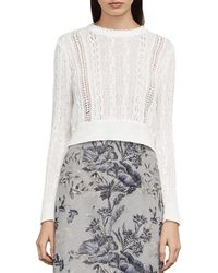 BCBGMAXAZRIA - Caleste Lace-inset Cable-knit Sweater - Lyst
