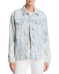 True Religion - Trucker Shredded Denim Jacket In Cyan Cyclone - Lyst
