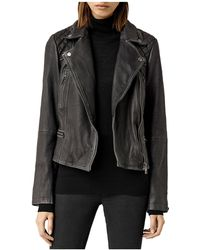 AllSaints - Cargo Quilted Leather Biker Jacket - Lyst
