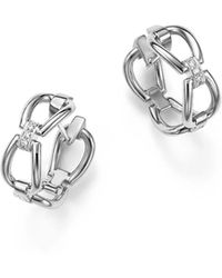 Roberto Coin - 18k White Gold Classic Parisienne Diamond Hoop Earrings - Lyst