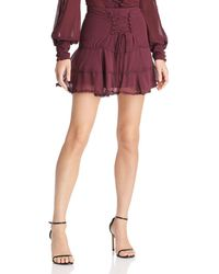 Bardot - Anna Lace-up Tiered Mini Skirt - Lyst