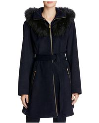 Laundry by Shelli Segal - Fur Hood Fit-and-flare Coat - Lyst