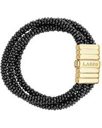 Lagos - Gold & Black Caviar Collection 18k Gold & Ceramic Three Strand Bracelet - Lyst