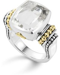 Lagos - 18k Gold And Sterling Silver Caviar Colour Medium Ring With White Topaz - Lyst