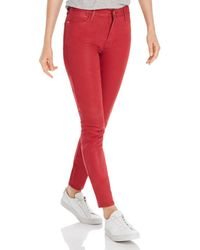 FRAME Le High Skinny Coated Jeans - Red