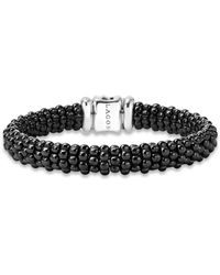 Lagos - Black Caviar Ceramic And Sterling Silver Station Bracelet - Lyst