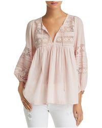 Velvet By Graham & Spencer - Evie Lace-inset Peasant Top - Lyst