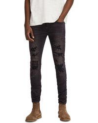 AllSaints - Battle Cigarette Slim Fit Jeans In Jet Black - Lyst