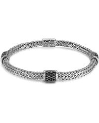 John Hardy | Classic Chain Silver Lava Four Station Chain Bracelet With Black Sapphires | Lyst