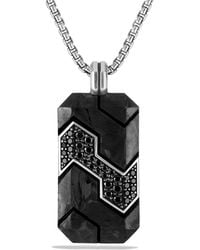 David Yurman - Forged Carbon Tag With Black Diamonds In Silver - Lyst