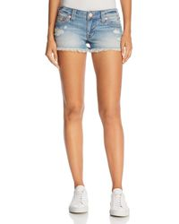 True Religion Joey Flap Cutoff Denim Shorts In Third Quarter