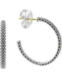 Lagos - Sterling Silver Signature Caviar Hoop Earrings - Lyst