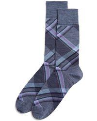 Bloomingdale's - Diagonal Plaid Socks - Lyst