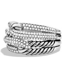 David Yurman | Labyrinth Double-loop Ring With Diamonds | Lyst