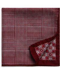 Bloomingdale's - Glen Plaid/medallion Reversible Pocket Square - Lyst