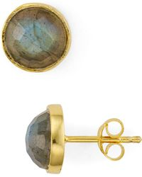 Aqua - Faceted Stone Stud Earrings In 18k Gold-plated Sterling Silver - Lyst