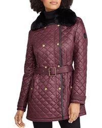 Ralph Lauren - Lauren Faux Fur Trim Diamond-quilted Jacket - Lyst