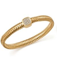 Roberto Coin - 18k Yellow Gold Primavera Pavé Diamond Square Bangle - Lyst