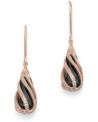 Bloomingdale's - Black Onyx & Diamond Cage Earrings In 14k Rose Gold - Lyst
