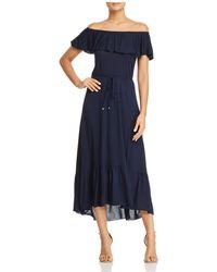 Three Dots - Ruffled Off-the-shoulder Midi Dress - Lyst