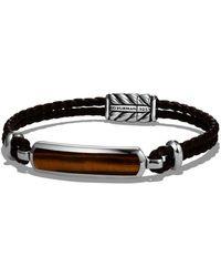 David Yurman - Exotic Stone Station Brown Leather Bracelet With Tigers Eye - Lyst