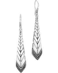 John Hardy | Brushed Sterling Silver Modern Chain Black Sapphire & Black Spinel Drop Earrings | Lyst