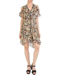 The Kooples - Wanted Cold-shoulder Floral Dress - Lyst