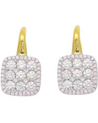 Frederic Sage | Diamond Medium Firenze Cushion Earrings In 18k Yellow & White Gold | Lyst