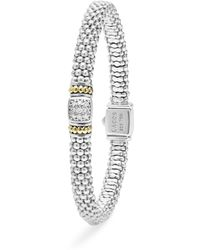 Lagos - 18k Gold And Sterling Silver Square Diamond Bracelet - Lyst