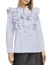 BCBGMAXAZRIA - Allexandria Ruffled Striped Top - Lyst