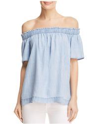 Side Stitch - Off-the-shoulder Chambray Top - Lyst