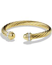 David Yurman | Cable Classics Bracelet With Diamonds & Gold | Lyst