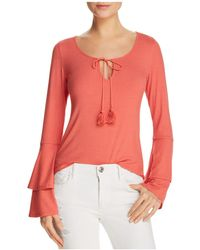 Band Of Gypsies - Ribbed Bell-sleeve Top - Lyst