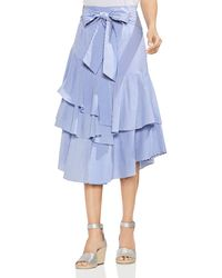 Vince Camuto - Tiered Striped Midi Skirt - Lyst