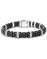 Lagos - Black Caviar Ceramic And Sterling Silver Bracelets With Pavé Diamond Bars - Lyst