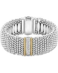 Lagos - 18k Gold & Sterling Silver Diamond Lux Single Station Bracelet - Lyst