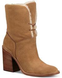 UGG - Women's Jerene Round Toe Suede & Sheepskin High-heel Booties - Lyst