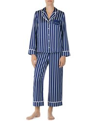 Kate Spade - Cat Striped Satin Long Pj Set - Lyst